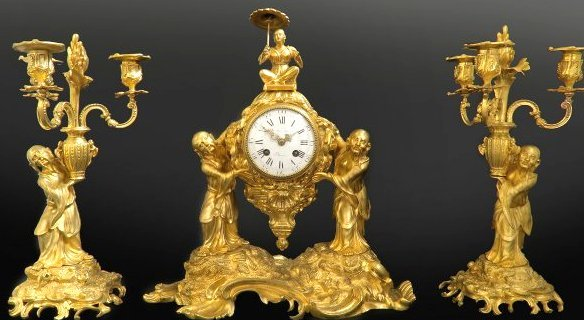 19th C. Very Fine French Bronze Chinoiserie Clock Set