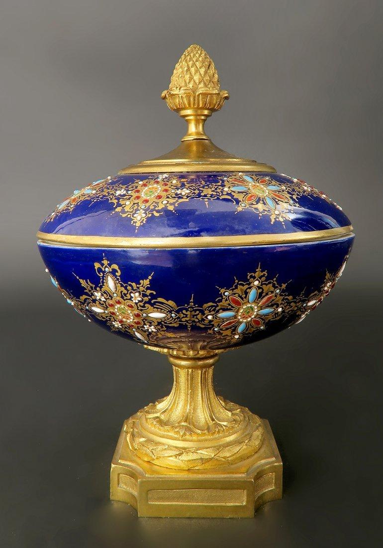 French Bronze & Sevres  Enameled Jeweled Centerpiece