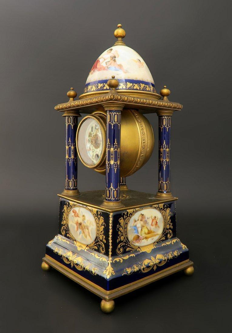 Hand Painted Bronze & Porcelain Royal Vienna Clock
