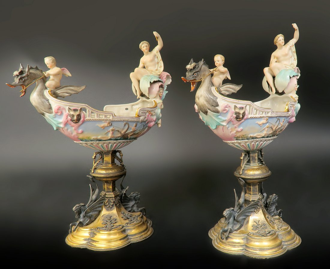 Large Pair of 19th C. Meissen Style Figural Comports