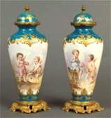 19th C French Pair of Bronze  Sevres Porcelain Urns