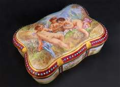 Magnificent French Jeweled Hand Painted Jewelry Box