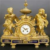 Large 19th C French Gilt Bronze Figural Clock