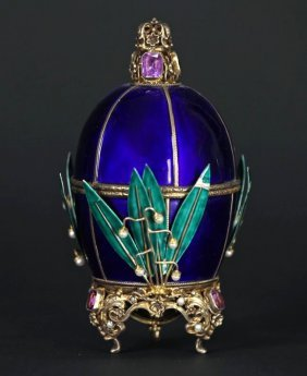 Continental Gemstone Inset Enamel & Vermeil Egg