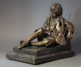 Large 19th C. French Bronze Figural Sculpture by Tharel