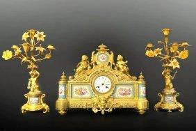 19th C. Bronze & Sevres Porcelain Figural Clock Set