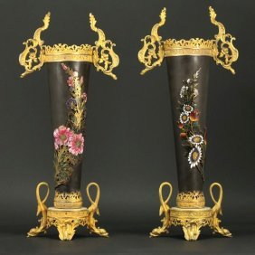 19th C. Pair of French Bronze Floral Vases