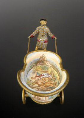 19th C. Viennese/French Enamel Cart Figural Bonboniere