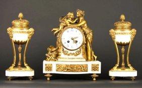 19th C. Tiffany & Co French Mantle Clock Garniture