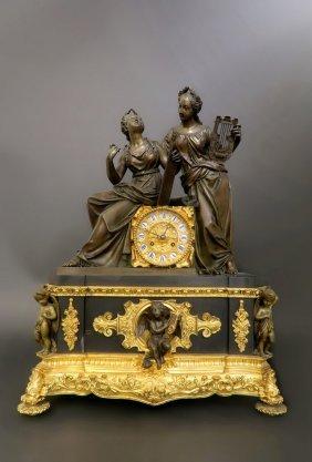 Monumental 19th C. French Empire Bronze Figural Clock