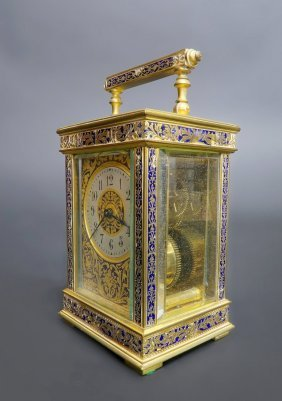 19th C. French Bronze & Champleve Enamel Travel Clock