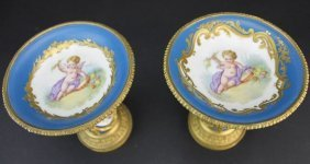 19th C. Pair of Bronze & Sevres Porcelain Compotes