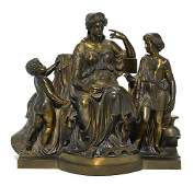 A Large French Patinated Bronze Figural Group