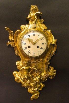 Very Fine 19th C. Bronze Figural Cartel Clock