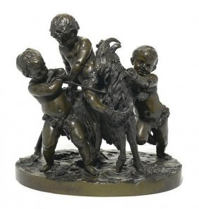 French Patinated Bronze Figural Group of Cherubs/Goat