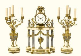 French gilt bronze and marble clock garniture 19TH C.