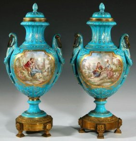 Pair of Turquoise Blue Bronze & Sevres Porcelain Urns