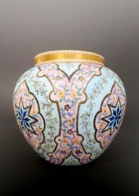 Enameled Persian Pattern Moser Art Glass Vase