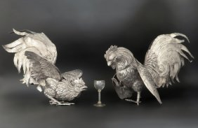 Large Pair of Silver Plated Cock or Rooster