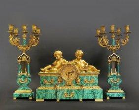 Magnificent19thC.Russian Malachite&dore bronze Clockset