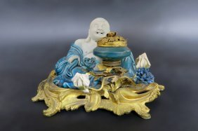 French Bronze & Porcelain Chinoiserie Inkwell