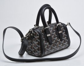 Canvas & Black Leather Mini Croisiere Handbag. Goyard.
