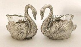 Beautiful Pair of 800 Silver Swan