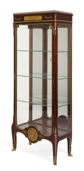 French 19th C. Bronze Mounted Mahogany Vitrine. F.Linke
