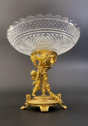French Baccarat Bronze & Crystal Figural Centerpiece