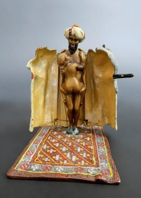 19th C. Austrian Painted Sculpture Signed Bergman
