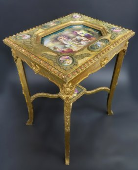 Rare 19th C. Gilt Wood Table with Vienna Plaques