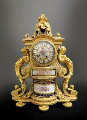 19th C. Fine French Bronze & Sevres Porcelain Clock