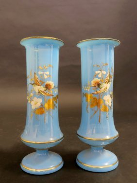 19th C.Hand Painted Baccarat Opaline Vases