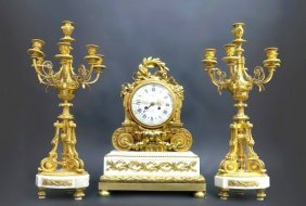 19th C. French Mantle Clock Garniture A. Beurdeley