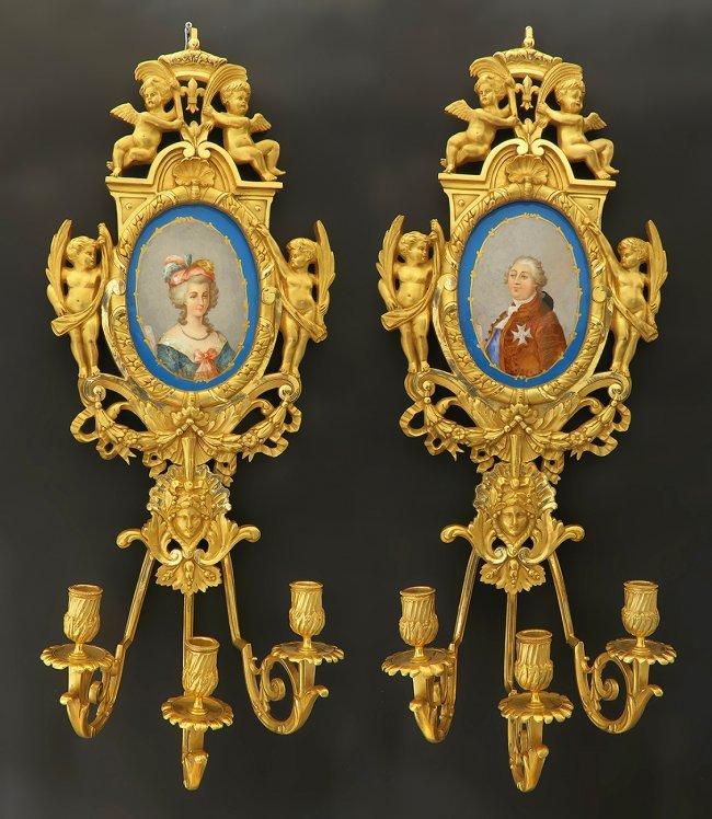 Monumental Pair of Bronze & Sevres Porcelain Figural Sc