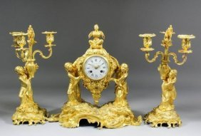 19th C. French Bronze Figural Chinoiserie Clock Set
