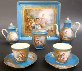 19th C. Leather Cased Sevres Porcelain Tea Set