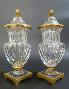 Pair of Bronze & Signed Baccarat Crystal Vases