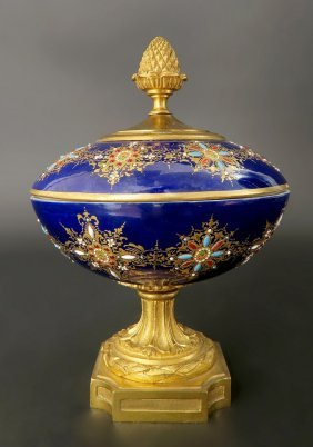 French Bronze & Sevres Enameled Jeweled Centerpiece