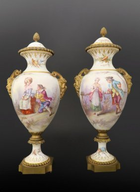 19th C. Pair of French Bronze & Sevres Porcelain Vases