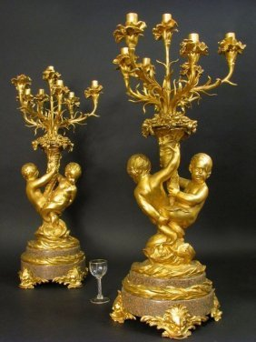 Massive Gilt Bronze & Rouge Marble 7 light Candelabras