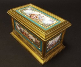 Large Blue Jeweled Sevres Jewelry Box/casket C. 1860s