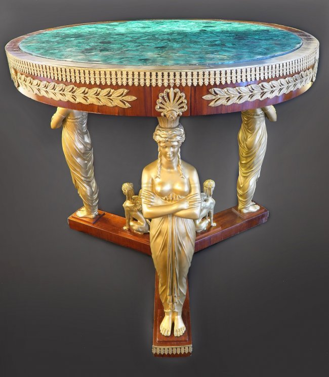Russian Malachite & Bronze Round Center Table