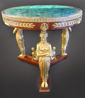 Malachite & Bronze Round Center Table