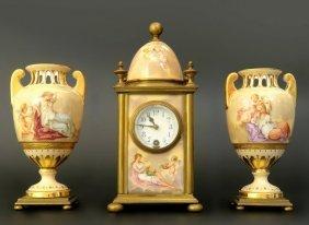 19th C. Royal Vienna Hand Painted Porcelain Clock Set