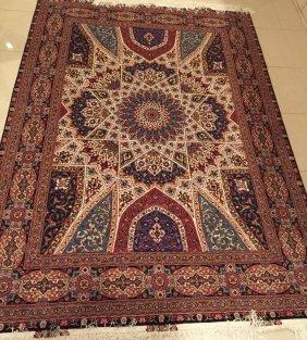 Persian Hand Made Rug From Tabriz Wool & Silk (Gonbad)