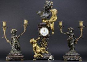 3 piece Clodion Figural Bronze Clock & Garniture Set