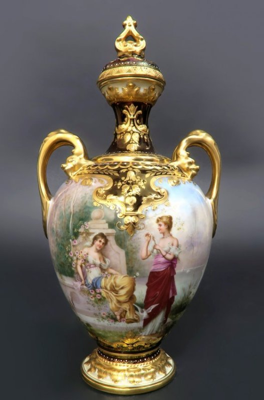 19th C. Hand Painted Royal Vienna Porcelain Vase