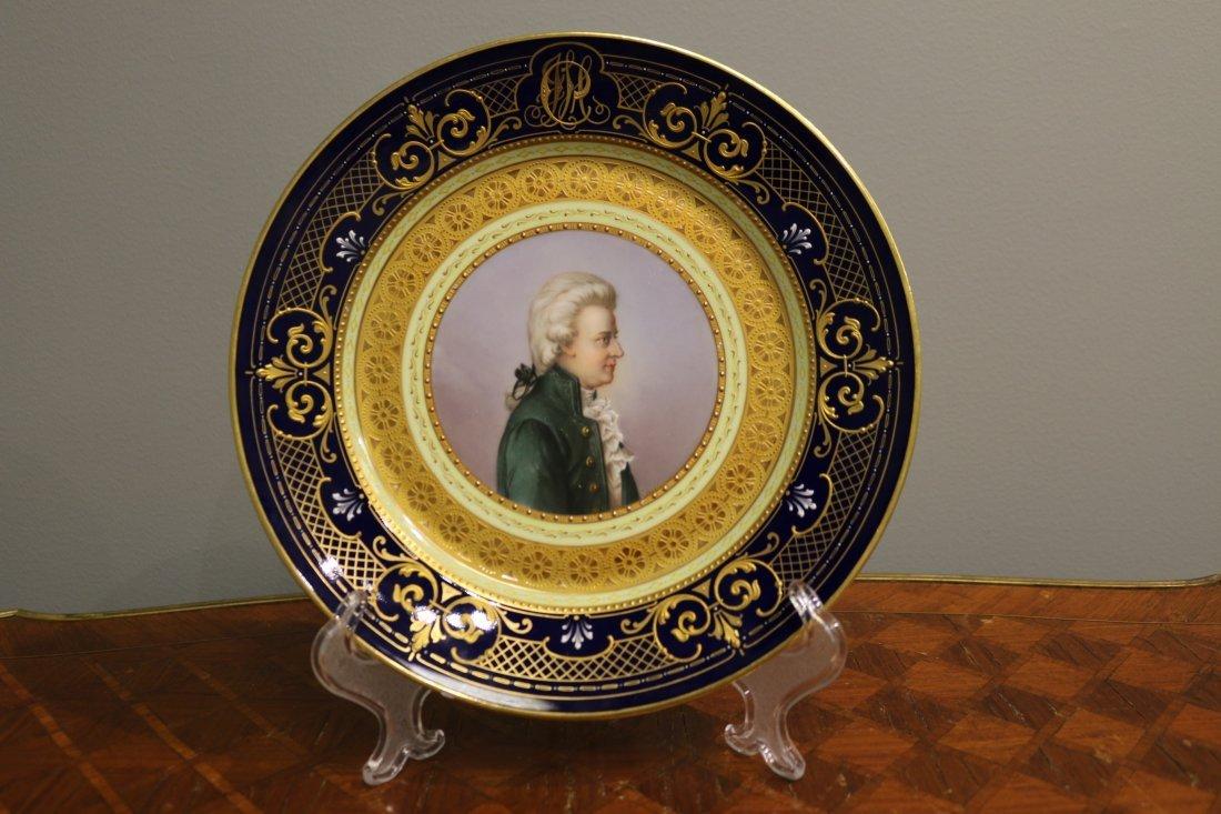 Viennese porcelain portraiture plate of Mozart