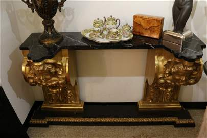 19th Century Italian gold leafed cherub console